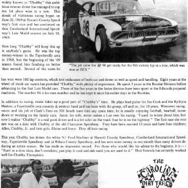 Carolina Dirt Track Circuit magazine 1969 Chubby Thompkins