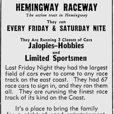Hemingway Raceway - 1963