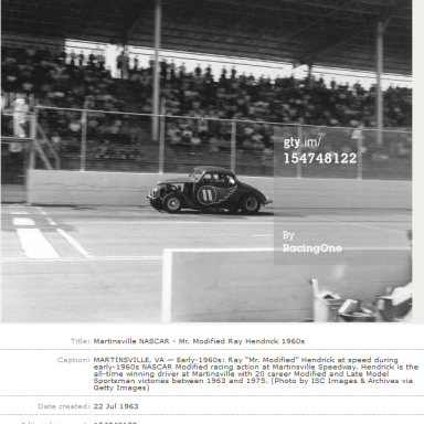 1st of 20 Martinsville Wins for Mr. Modified - 1963