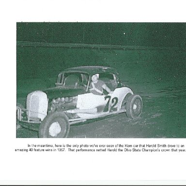 Harold Smith driving Bob Korn car 1957. Ohio State Champ 40 feature wins