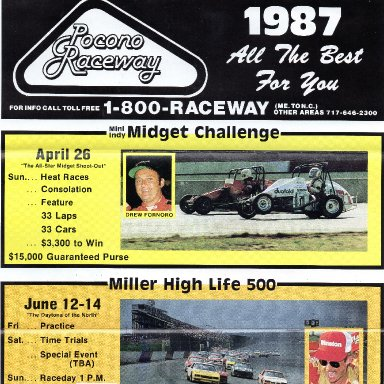 Pocono Raceway 1987 race info and ticket form part 1