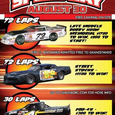 Rescheduled date for Bobby Korn Memorial Race Shadybowl Speedway