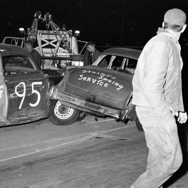 Rockford Speedway clearing the wreckage about 1952