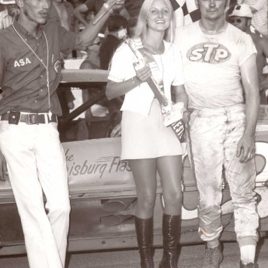 Feature Win (#24), Victory Lane, 100 Lap ASA Win, Winchester Speedway, Sep 3, 1973