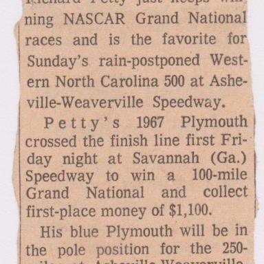 RICHARD PETTY ASHEVILLE STOCK RACE, AUG. 26, 1967 AUTO RACING ARTICLE