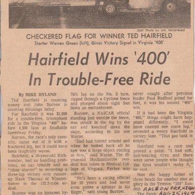 HAIRFIELD WINS '400' - AUGUST 26, 1967