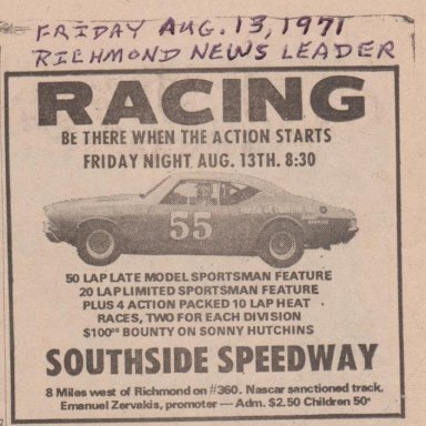 SOUTHSIDE SPEEDWAY ADVERTISEMENT PHOTO 1A  FRIDAY AUG.13,1971 RICHMOND NEWS LEADER