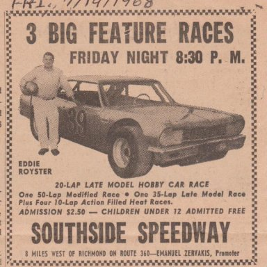 FRIDAY JULY 19,1968 SOUTHSIDE SPEEDWAY ADVERTISEMENT