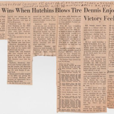 2ND SPORT PAGE FROM 1ST SPORT PAGE PHOTO 01B MISSING 1ST SPORT PAGE MONDAY APRIL 20,1970 RICHMOND TIMES-DISPATCH