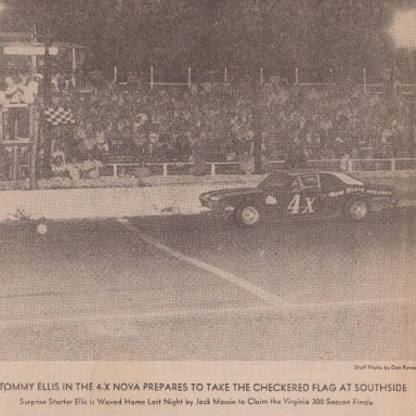 190B  TOMMY ELLIS IN THE 4x CHEVY NOVA TAKE THE CHECKERED FLAG AT SOUTHSIDE SPEEDWAY