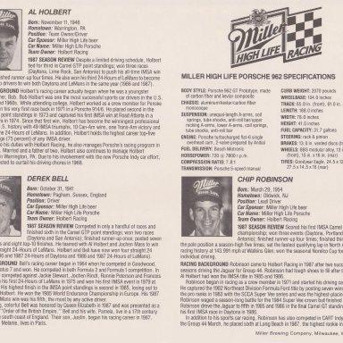 #14 AL HOLBERT, DEREK BELL, CHIP ROBINSON, MILLER HIGH LIFE PORSCHE 962 1988 002