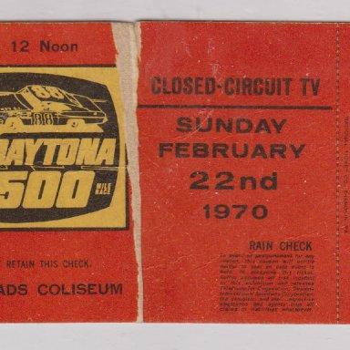 001 DAYTONA 500 MILE RACE, CLOSED-CIRCUIT TV, SUNDAY FEB.22, 1970 HALF-TORN RACE TICKET STUBS, HAMPTON ROADS COLISEUM, HAMPTON,VIRGNIA