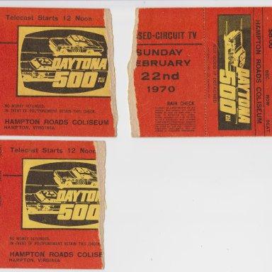 003 DAYTONA 500 MILE RACE, CLOSED-CIRCUIT TV, SUNDAY FEB.22, 1970 HALF-TORN RACE TICKET STUBS, HAMPTON ROADS COLISEUM, HAMPTON,VIRGNIA