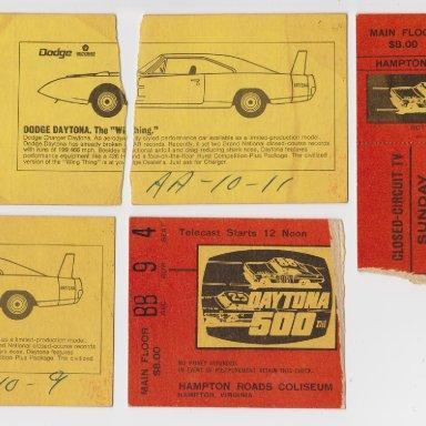 004 DAYTONA 500 MILE RACE, CLOSED-CIRCUIT TV, SUNDAY FEB.22, 1970 TICKET STUBS, HAMPTON ROADS COLISEUM, HAMPTON,VIRGNIA