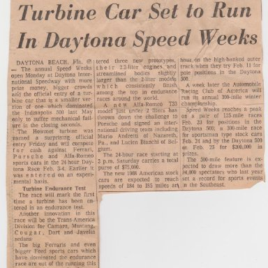# TX  HOWMET TURBINE  24 HRS. OF DAYTONA, DAYTONA  SPEEDWAY 1968 PHOTO, ARTICLE