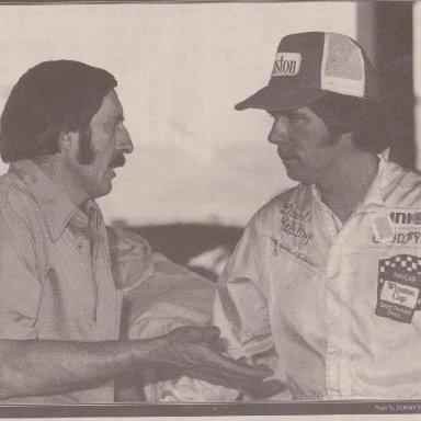 CREW CHIEF MARIO ROSSI , DRIVER DARRELL WALTRIP AUGUST 8, 1975