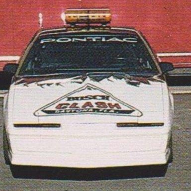 ANHEUSER-BUSCH SHOW CAR TEAM POST CARD (FRONT PHOTO #1B PONTIAC TRANS AM BUSCH CLASH, DAYTONA, FLA. PACE CAR  ENLARGED)