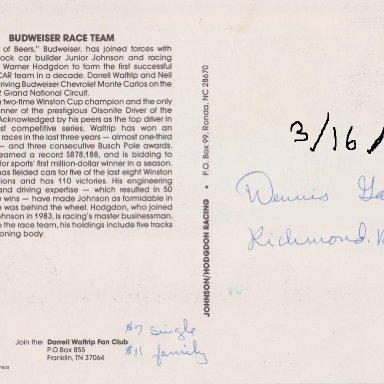 DARRELL WALTRIP #11  BUDWEISER CHEVY 1984 POST CARD 002A  (BACK)