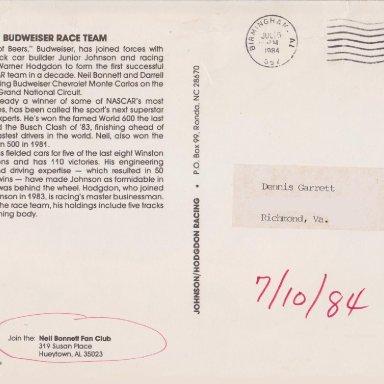 NEIL BONNETT #12 BUDWEISER CHEVY 1984 AUTOGRAPH POST CARD 002 (F