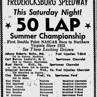 Big NASCAR Modified-Sportsman Race - 1960 - Fredericksburg, Va.