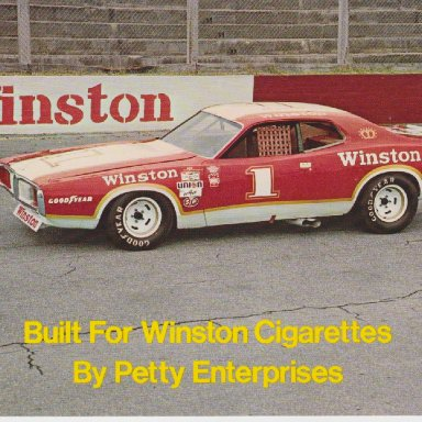 WINSTON NUMBER 1 SHOW CAR 1974 DODGE CHARGER POST CARD OO2A FRONT