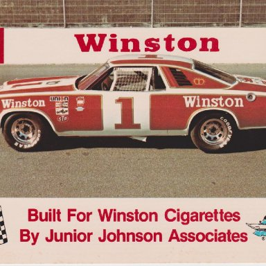 WINSTON NUMBER 1 SHOW CAR 1977 CHEVELLE MALIBU POST CARD OO3A FRONT