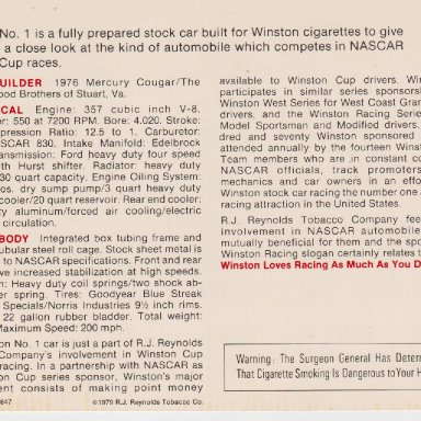 WINSTON NUMBER 1 SHOW CAR 1976 MERCURY COUGAR POST CARD OO5B REAR