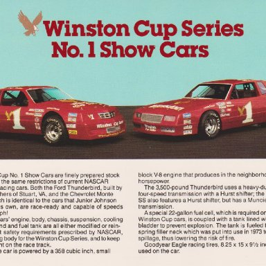 WINSTON CUP SERIES NUMBER 1 SHOW CARS FORD THUNDERBIRD AND CHEVROLET MONTE CARLO POST CARD OO6A FRONT