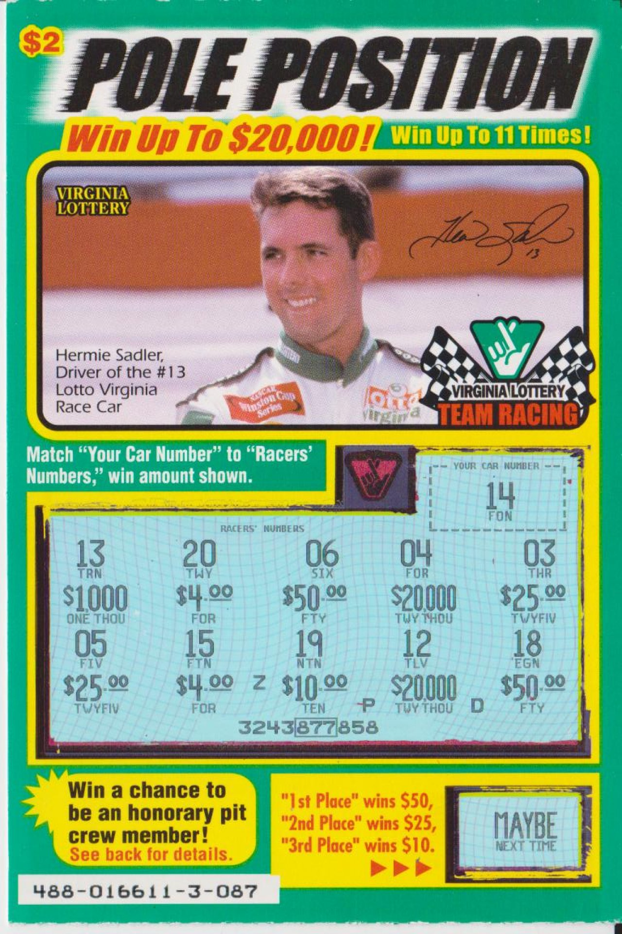 2001 VA  LOTTERY POLE POSITION SCRATCH GAME 01a - Gallery - Dennis