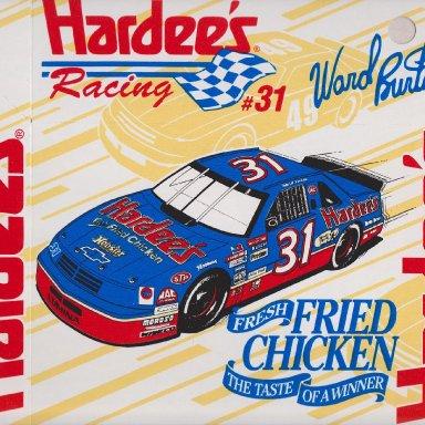 #31 WARD BURTON  1994 HARDEE'S FRESH FRIED CHICKEN 8-PIECE BOX ADVERTISEMENT