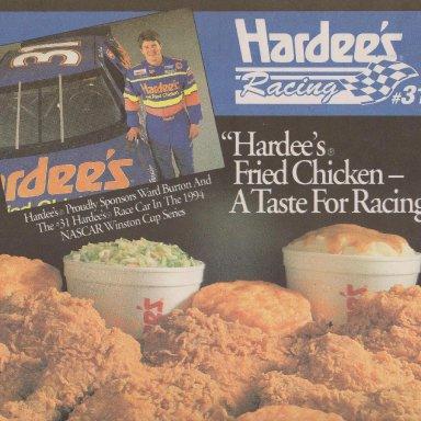 #31 WARD BURTON HARDEE'S CHICKEN PAPER TABLE MAT LEFT SIDE 1994 ADVERTISEMENT #1A