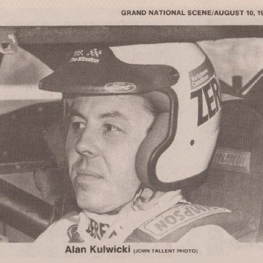 #7 ALAN KULWICKI WEARING ZEREX ANTIFREEZE COOLANT,THE WINSTON, FORD DECALS 1989 OPEN FACE SIMPSON RACE HELMET PHOTO