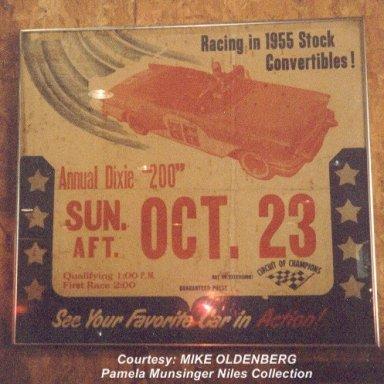 1955....10.23  DIXIE 200 Binghm AL racing poster