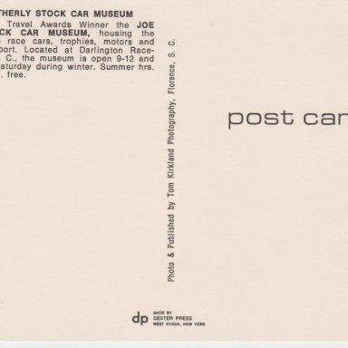 000B THE JOE WEATHERLY STOCK CAR MUSEUM,DARLINGTON,SC POST CARD BACK