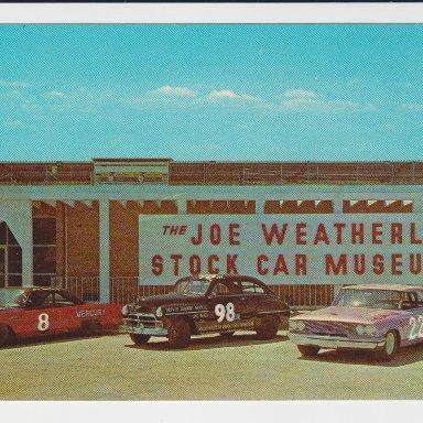 THE JOE WEATHERLY STOCK CAR MUSEUM, DARLINGTON, SC POST CARD