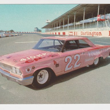 #22 FIREBALL ROBERTS,1963 YOUNG FORD, DARLINGTON RACEWAY POST CARD FRONT
