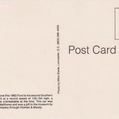 #22 FIREBALL ROBERTS,1963 YOUNG FORD, DARLINGTON RACEWAY POST CARD BACK