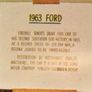 0001C #22 YOUNG FORD, THE JOE WEATHERLY STOCK CAR MUSEUM SIGN