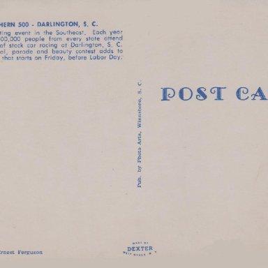 1962 SOUTHERN 500, DARLINGTON RACEWAY, S.C. POST CARD BACK