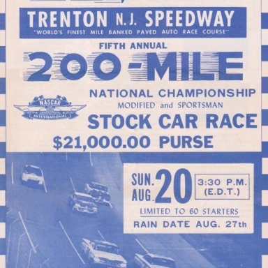 TS01  TRENTON  N..J. SPEEDWAY, FIFTH ANNUAL,TRENTON 200 STOCK CAR RACE,SUNDAY,AUGUST 20,1967 FRONT COVER OF 4 PAGE FOLD UP BROCHURE