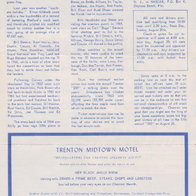 TS03 TRENTON  N..J. SPEEDWAY, FIFTH ANNUAL,TRENTON 200 STOCK CAR RACE,SUNDAY,AUGUST 20,1967 PAGE 3 OF 4 PAGE FOLD UP BROCHURE