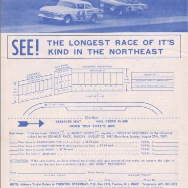 TS04  TRENTON  N..J. SPEEDWAY, FIFTH ANNUAL,TRENTON 200 STOCK CAR RACE,SUNDAY,AUGUST 20,1967 BACK COVER OF 4 PAGE FOLD UP BROCHURE