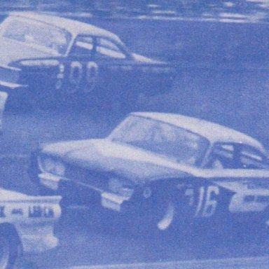TS04A3  #99 FIREBALL ROBERTS 1961 FORD, #16 JOHNNY GOUVELA FORD,  1964 200 Mile Modified-Sportsman race at Daytona PHOTO