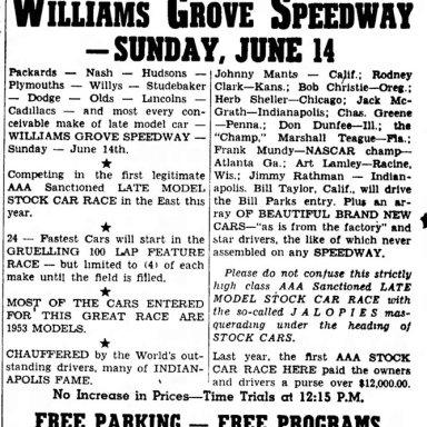 June 14, 1953 WIlliams Grove Speedway