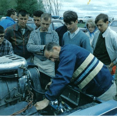 Gary Dyer tuning the 1965 Mr. Norm AFX Dodge