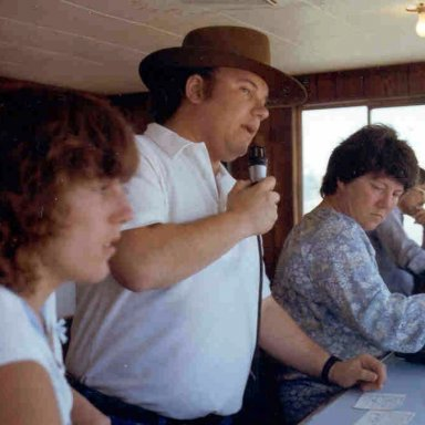 Tom Loughlin Jr at  the microphone in the Baylands Raceway Park Fremont Ca tower.