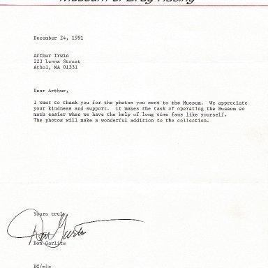 Garlits Museun letter
