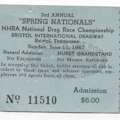 1967 NHRA Bristol Springnationals Loughlin ticket.