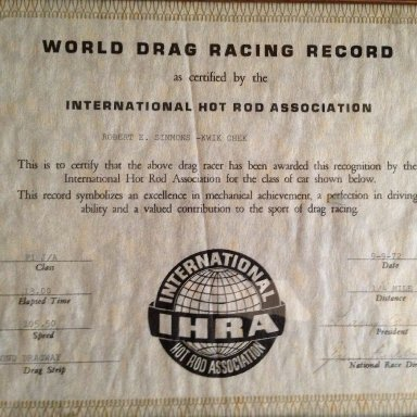 IHRA Record Robert Simmons Kwik-Chek '57 Chevy