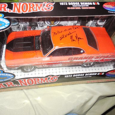 "Mr Norm signed 72' Demon with ""MoParOrNoCar"" inscription"
